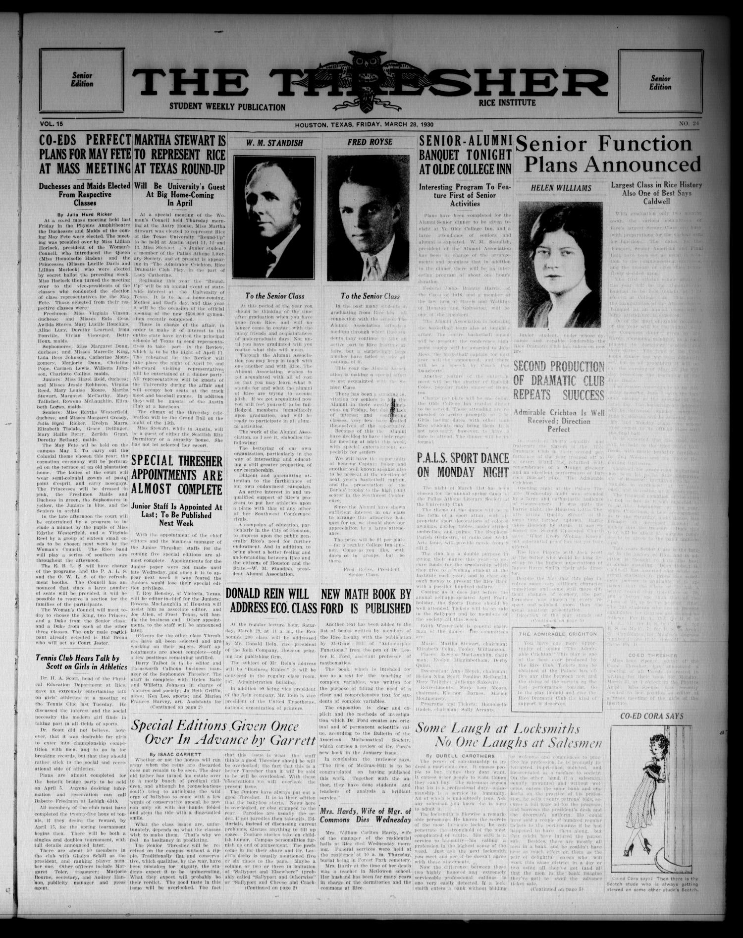 The Thresher (Houston, Tex.), Vol. 15, No. 24, Ed. 1 Friday, March 28, 1930                                                                                                      [Sequence #]: 1 of 6