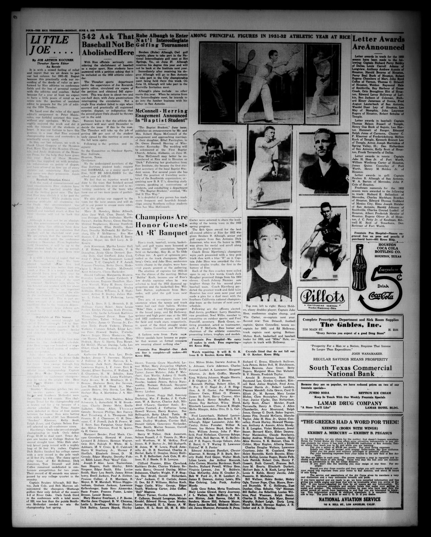 The Thresher (Houston, Tex.), Vol. 17, No. 33, Ed. 1 Monday, June 6, 1932                                                                                                      [Sequence #]: 4 of 4