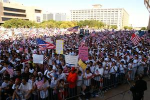 Primary view of object titled '[Large crowd of protesters gather in downtown Dallas carrying flags and signs]'.