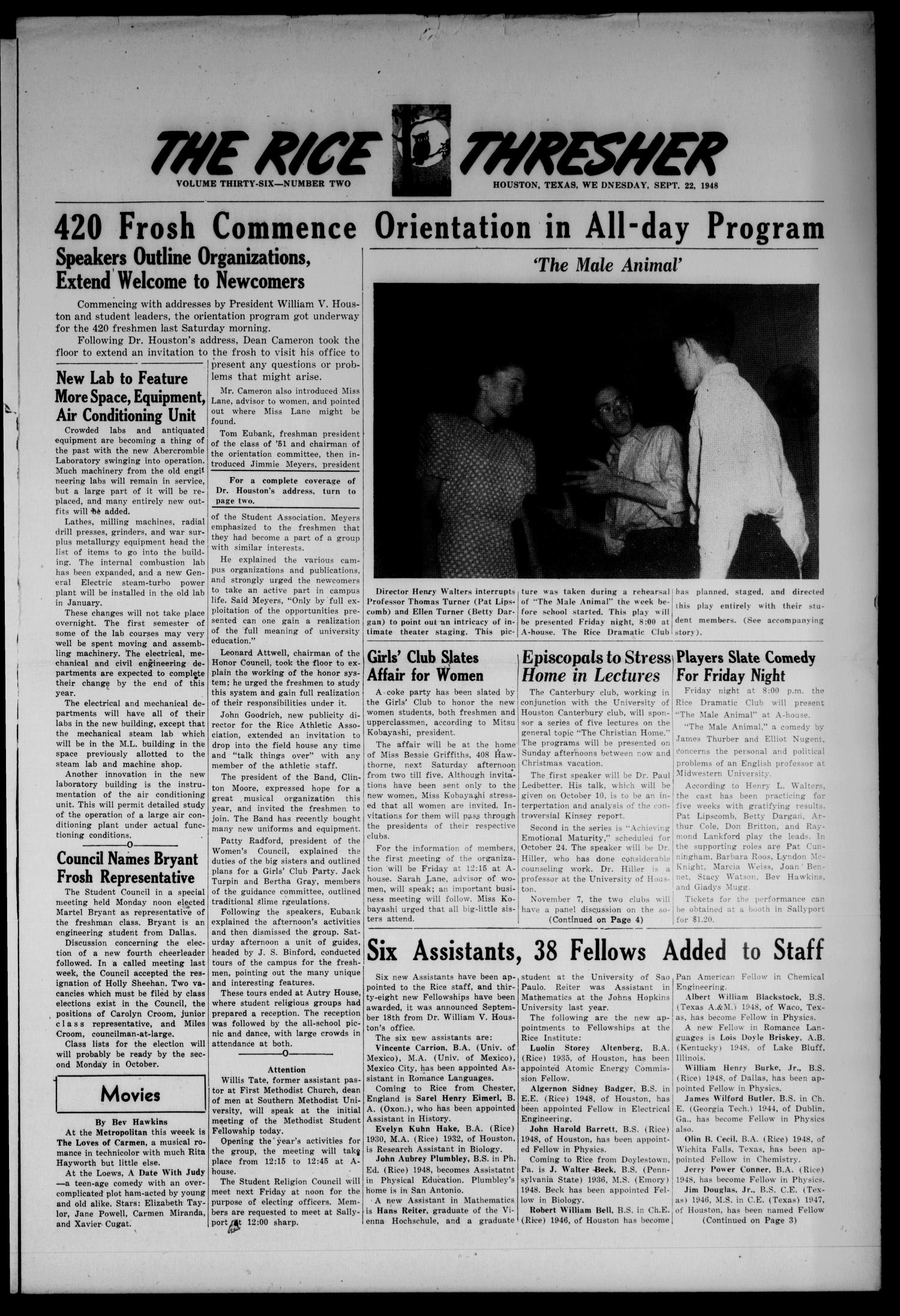 The Rice Thresher (Houston, Tex.), Vol. 36, No. 2, Ed. 1 Wednesday, September 22, 1948                                                                                                      [Sequence #]: 1 of 4