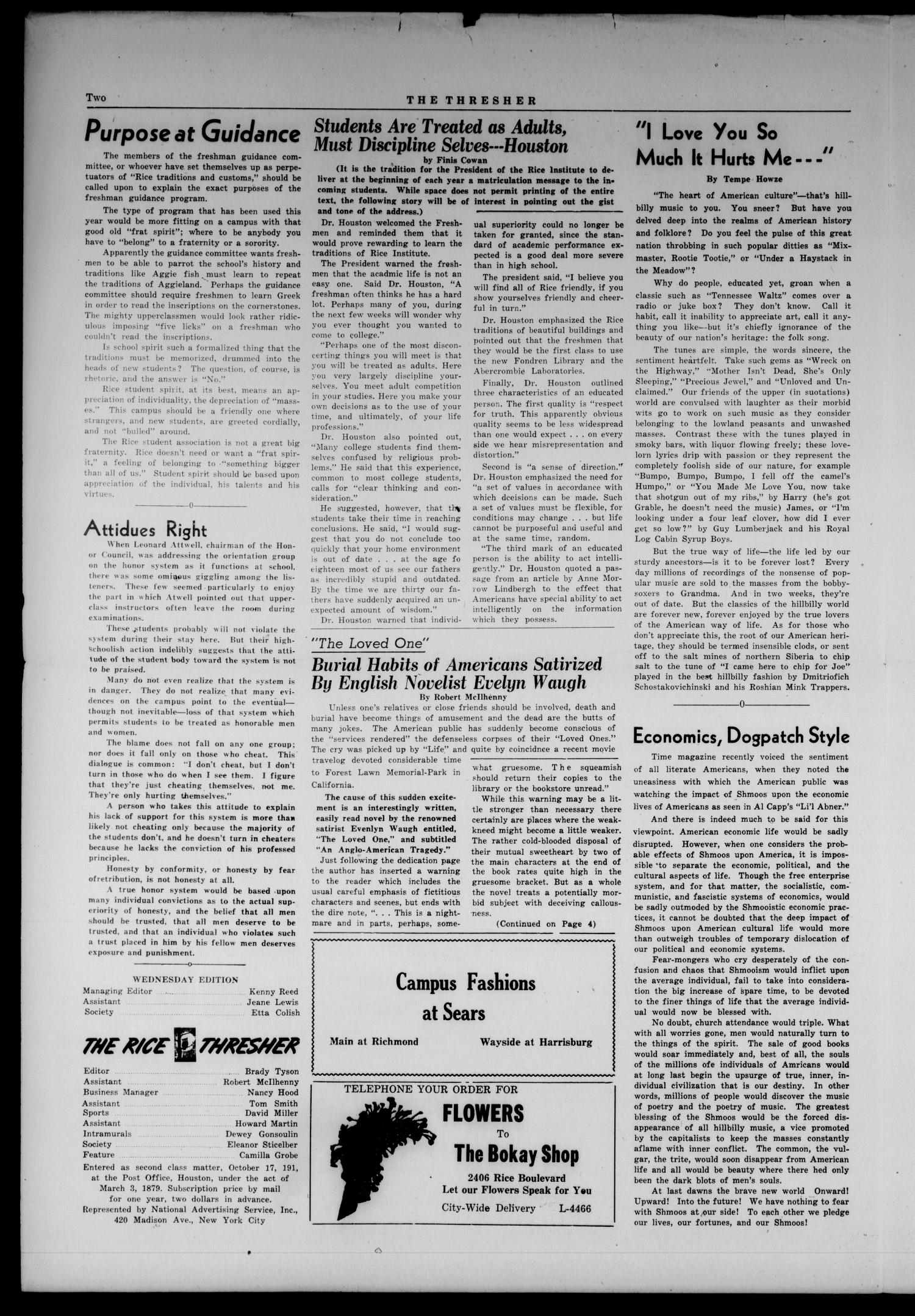 The Rice Thresher (Houston, Tex.), Vol. 36, No. 2, Ed. 1 Wednesday, September 22, 1948                                                                                                      [Sequence #]: 2 of 4