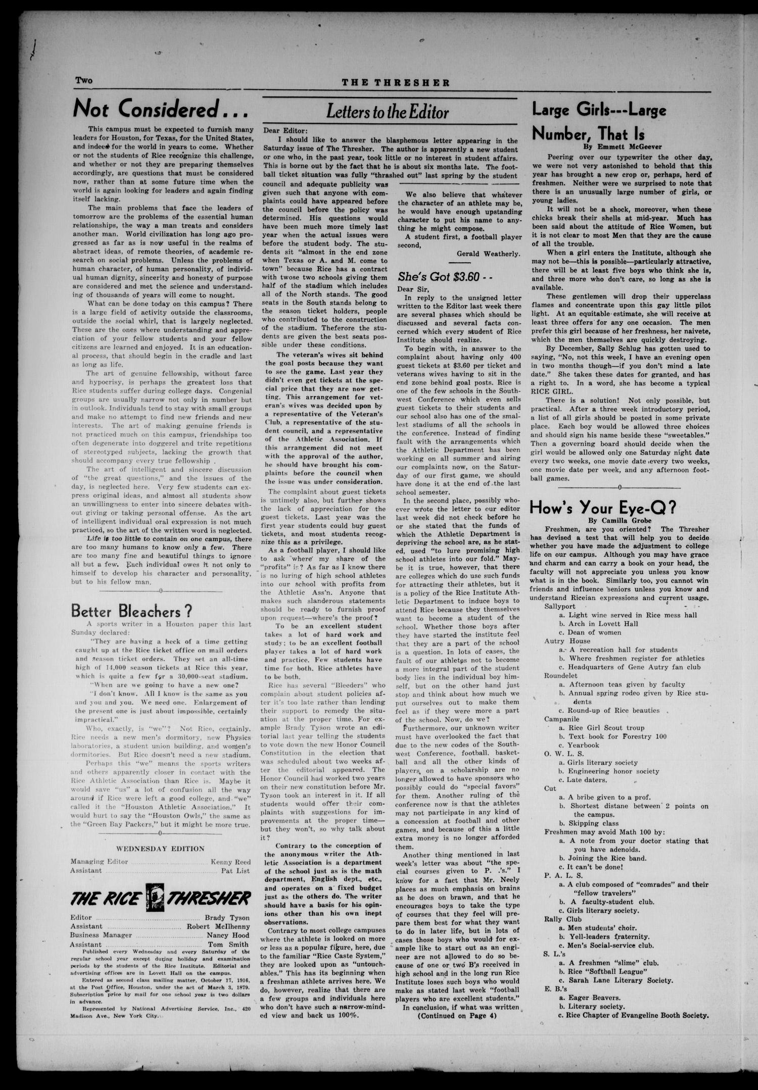 The Rice Thresher (Houston, Tex.), Vol. 36, No. 4, Ed. 1 Wednesday, September 29, 1948                                                                                                      [Sequence #]: 2 of 4