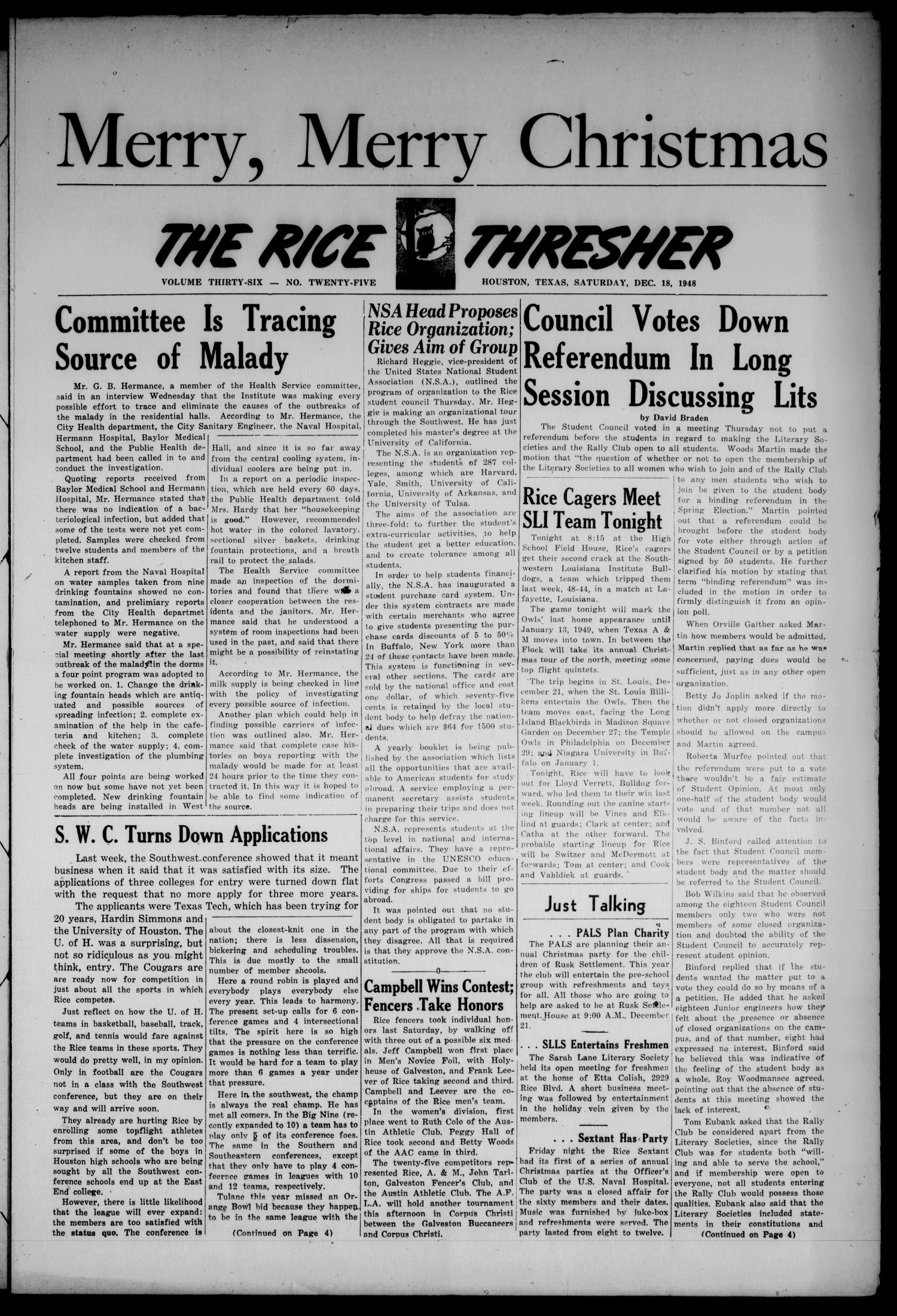 The Rice Thresher (Houston, Tex.), Vol. 36, No. 25, Ed. 1 Saturday, December 18, 1948                                                                                                      [Sequence #]: 1 of 4