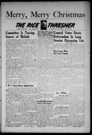 Primary view of object titled 'The Rice Thresher (Houston, Tex.), Vol. 36, No. 25, Ed. 1 Saturday, December 18, 1948'.