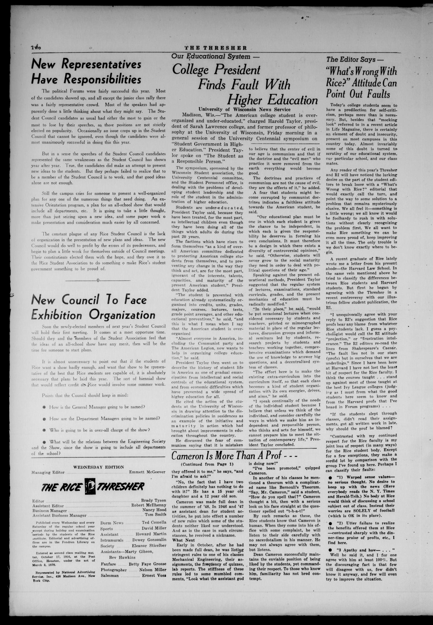 The Rice Thresher (Houston, Tex.), Vol. 36, No. 46, Ed. 1 Wednesday, March 30, 1949                                                                                                      [Sequence #]: 2 of 4