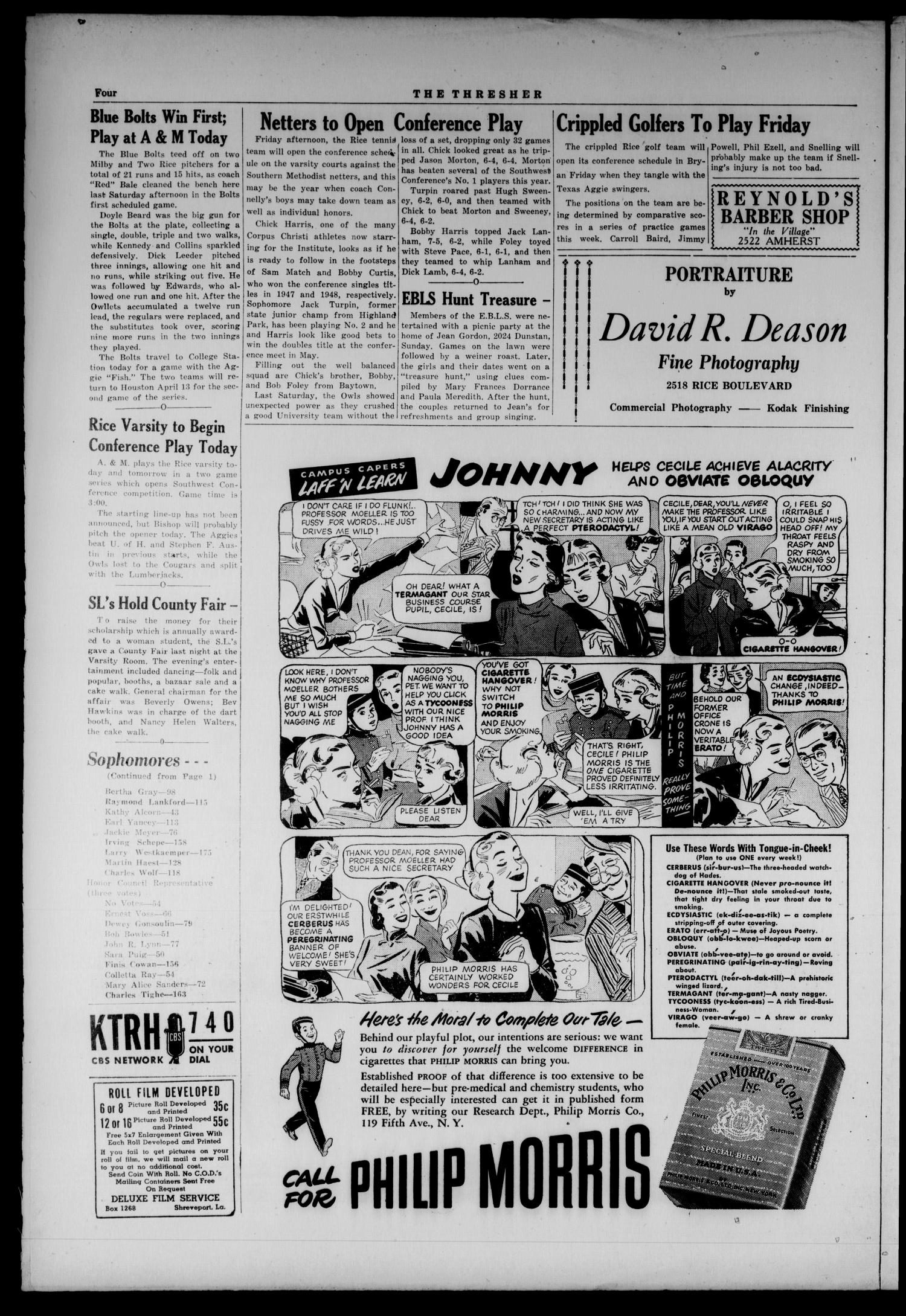 The Rice Thresher (Houston, Tex.), Vol. 36, No. 46, Ed. 1 Wednesday, March 30, 1949                                                                                                      [Sequence #]: 4 of 4
