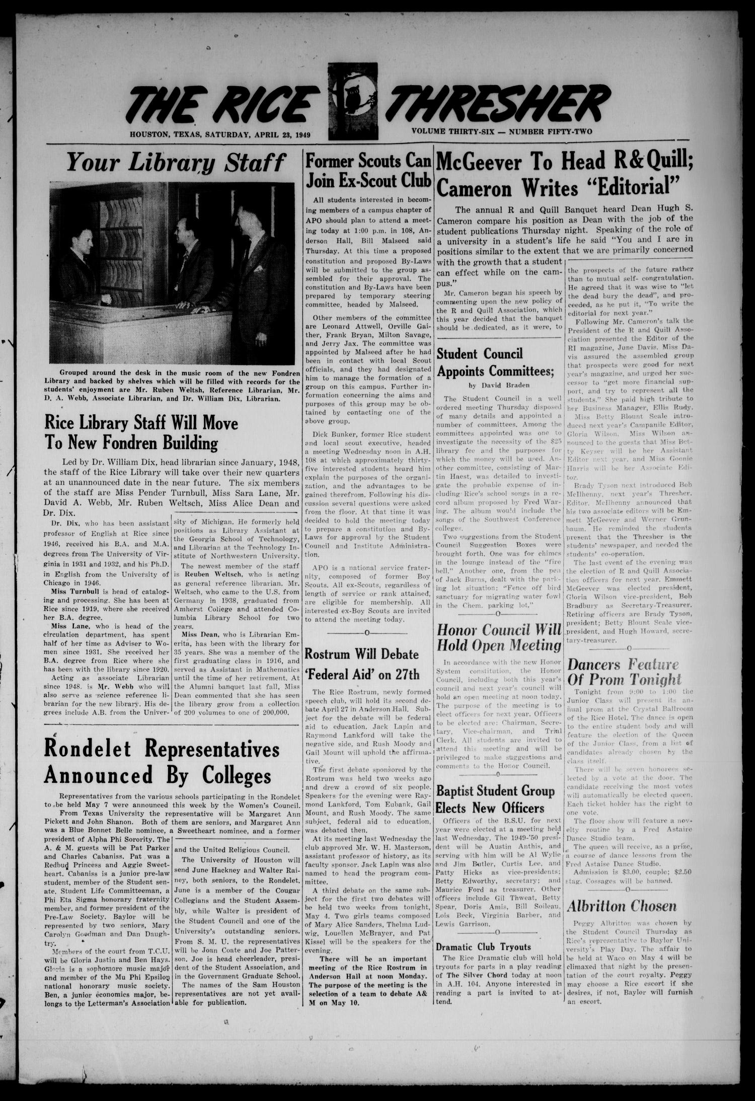 The Rice Thresher (Houston, Tex.), Vol. 36, No. 52, Ed. 1 Saturday, April 23, 1949                                                                                                      [Sequence #]: 1 of 8