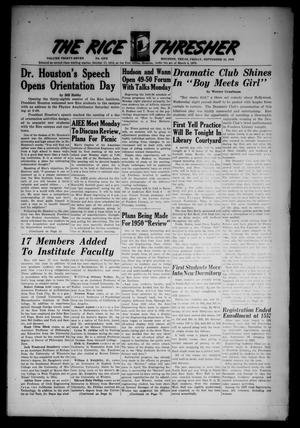 The Rice Thresher (Houston, Tex.), Vol. 37, No. 1, Ed. 1 Friday, September 23, 1949
