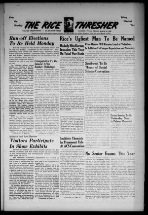 The Rice Thresher (Houston, Tex.), Vol. 37, No. 23, Ed. 1 Friday, March 31, 1950