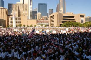 Primary view of object titled '[Large Crowd of Immigration Protesters Gather in Downtown Dallas]'.