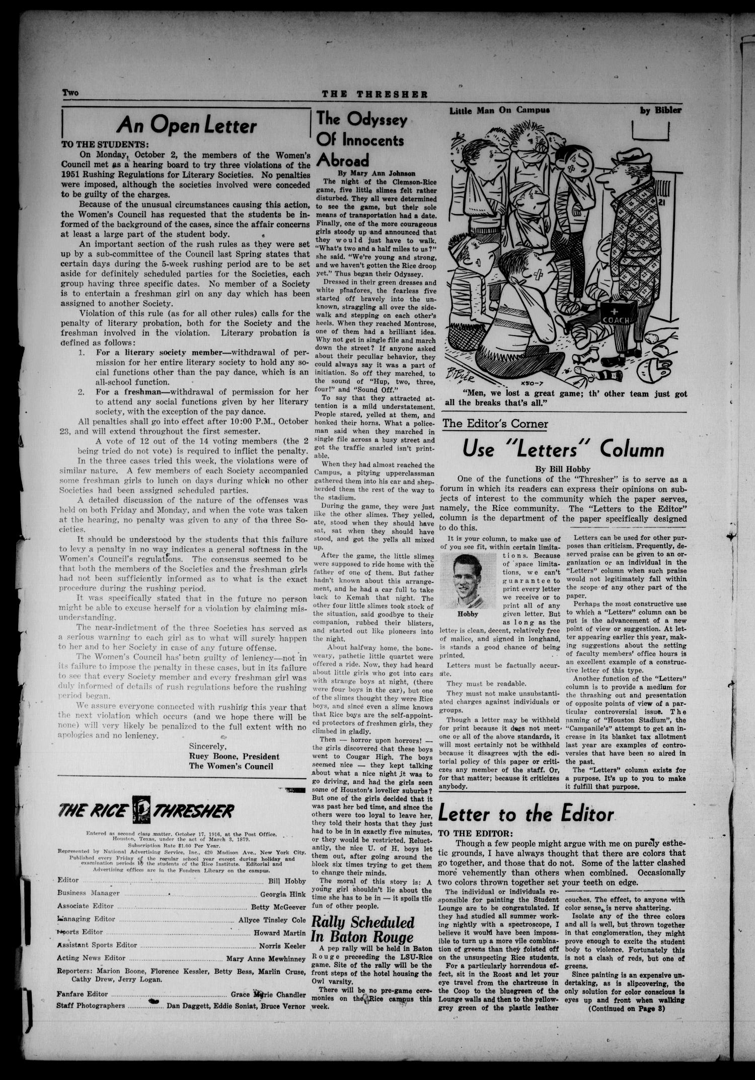 The Thresher (Houston, Tex.), Vol. 39, No. 3, Ed. 1 Friday, October 5, 1951                                                                                                      [Sequence #]: 2 of 6