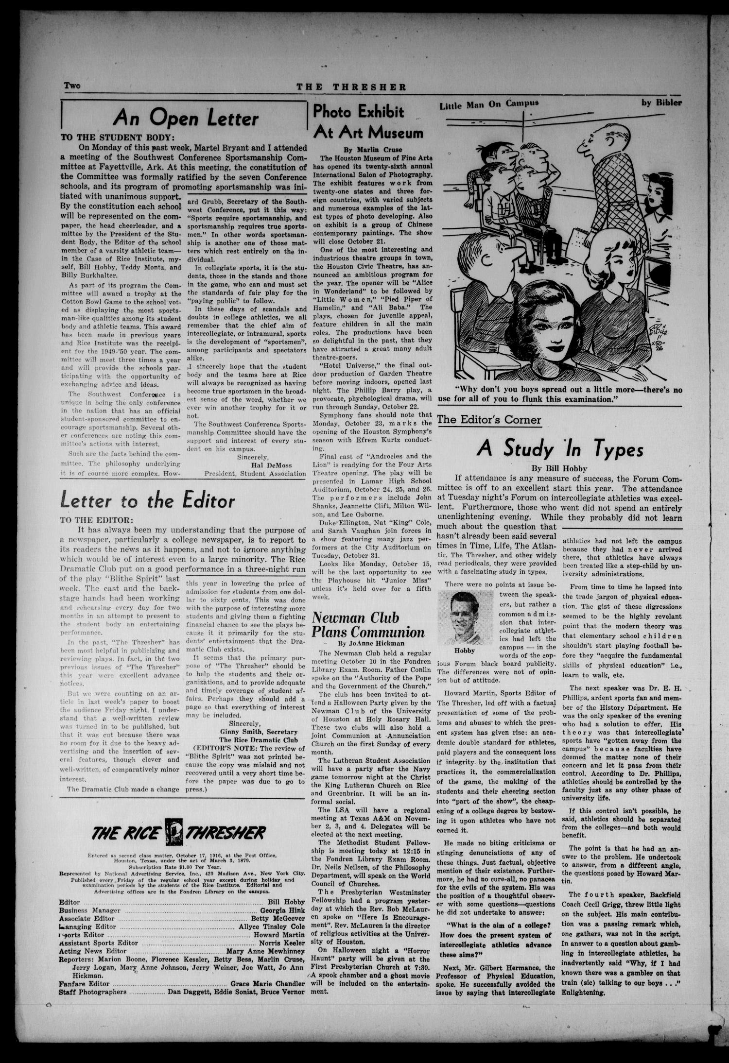 The Thresher (Houston, Tex.), Vol. 39, No. 4, Ed. 1 Friday, October 12, 1951                                                                                                      [Sequence #]: 2 of 6