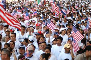 Primary view of object titled '[Large Crowd of Immigration Protesters With Flags]'.