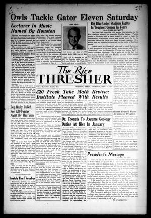 Primary view of object titled 'The Rice Thresher (Houston, Tex.), Vol. 41, No. 1, Ed. 1 Thursday, September 17, 1953'.