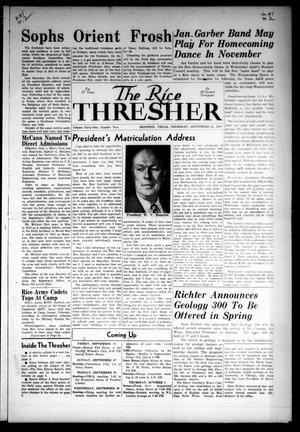 Primary view of object titled 'The Rice Thresher (Houston, Tex.), Vol. 41, No. 2, Ed. 1 Friday, September 25, 1953'.