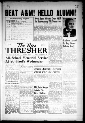 The Rice Thresher (Houston, Tex.), Vol. 41, No. 9, Ed. 1 Friday, November 13, 1953