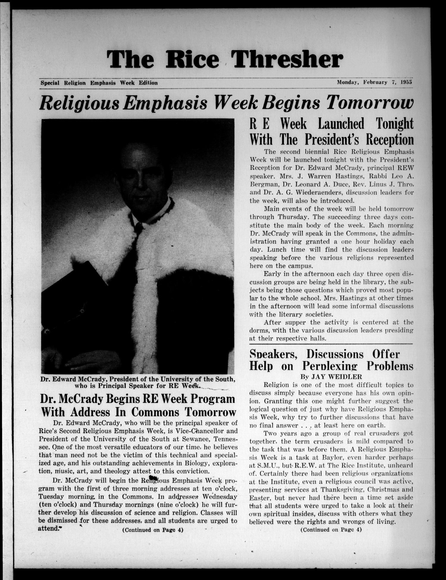 The Rice Thresher (Houston, Tex.), Ed. 1 Monday, February 7, 1955                                                                                                      [Sequence #]: 1 of 4