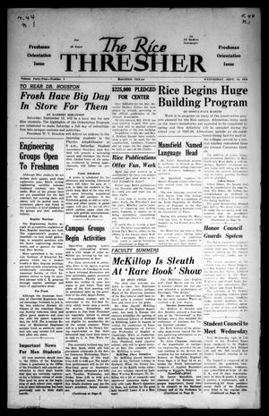 Primary view of object titled 'The Rice Thresher (Houston, Tex.), Vol. 44, No. 1, Ed. 1 Wednesday, September 12, 1956'.