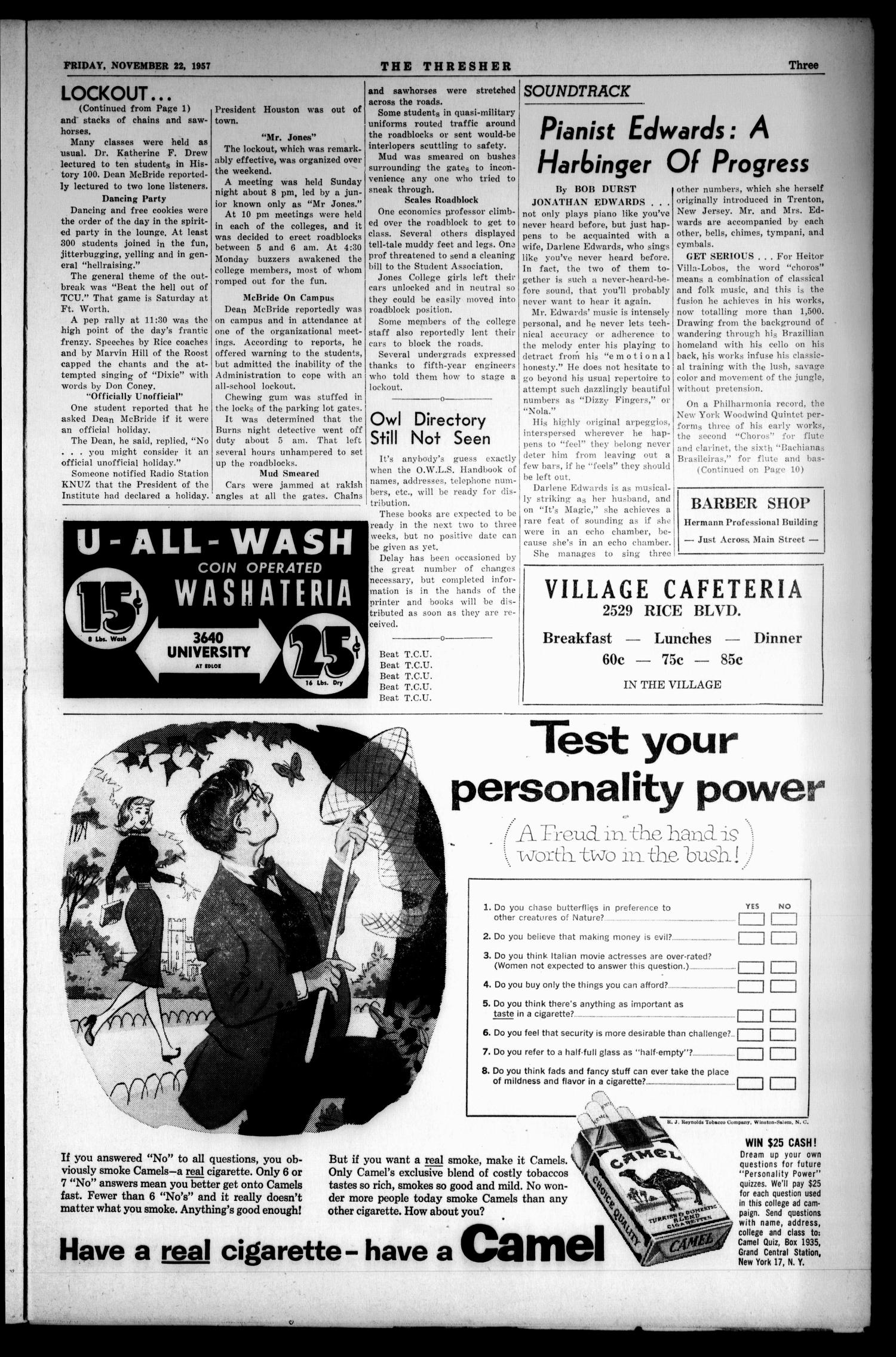 The Rice Thresher (Houston, Tex.), Vol. 45, No. 11, Ed. 1 Friday, November 22, 1957                                                                                                      [Sequence #]: 3 of 10