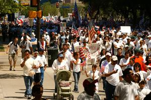 Primary view of object titled '[Immigration Protesters March in Dallas]'.