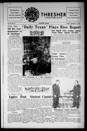 Primary view of object titled 'The Rice Thresher (Houston, Tex.), Vol. 47, No. 14, Ed. 1 Friday, December 18, 1959'.