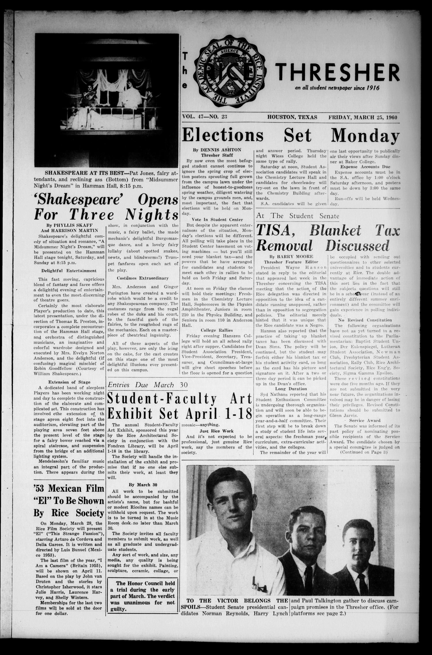 The Rice Thresher (Houston, Tex.), Vol. 47, No. 23, Ed. 1 Friday, March 25, 1960                                                                                                      [Sequence #]: 1 of 8