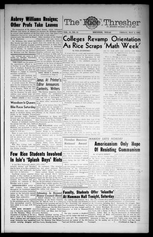 Primary view of object titled 'The Rice Thresher (Houston, Tex.), Vol. 48, No. 28, Ed. 1 Friday, May 5, 1961'.