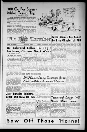 The Rice Thresher (Houston, Tex.), Vol. 49, No. 7, Ed. 1 Friday, October 27, 1961