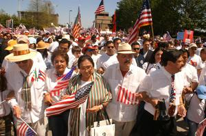 Primary view of object titled '[Immigration Protesters Marching]'.