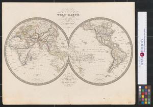 Primary view of Welt-Karte in zwey Halbkugeln.