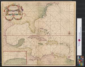 Primary view of Pascaerte van Westindien begrypende in zich de vaste kusten en eylanden : alles op syn waere lengte en breete op wassende graden gelegt.