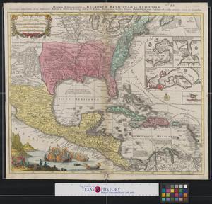 Primary view of Mappa Geographica Regionen Mexicanam et Floridam Terrague adjacentes: ut et Anteriores Americæ Insulas, Cursus itidem et reditus Navigantium versus flumen Missisipi et alias Colonias of ocidos ponens.