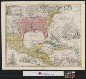 Primary view of Regni Mexicani seu Novae Hispaniae, Ludovicianae, N. Angliae, Carolinae, Virginiae, Pensylvaniae, necnon insvlarvm archipelagi Mexicani in America Septentrionali..