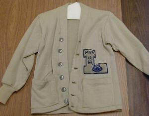 Primary view of object titled 'Junior high sweater belonged to George Harper in 1963 under Coach Ross'.
