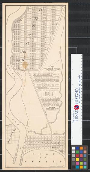 Primary view of object titled 'Map of Velasco, Texas, and environs.'.