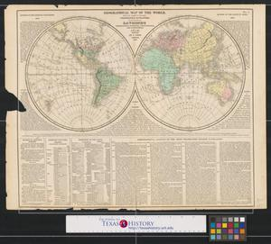 Primary view of object titled 'Geographical map of the world: with the tracks of the most celebrated navigators for the elucidation of Lavoisne's genealogical, historical, chronological, and geographical atlas.'.
