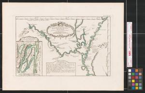 Primary view of Suite du cours du fleuve St. Louis depuis la rivière d'Iberville jusq'à celle des Yasous, et les parties connues de la Rivière Rouge et la Rivière Noire.
