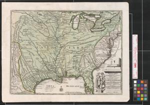 Primary view of Novissima tabula regionis Lvdovicianae gallice dictae La Lovgsiane iam olim quidem sub Canadae et Floridae nonime [sic.] in America Septentrionali.