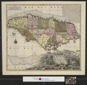 Primary view of Nova Designatio Insulæ Jamaicae ex Antillanis Americae Septentrion: non postremae Secundum Gubernationes fuas accuratas aeri incisa et publici juris facta.