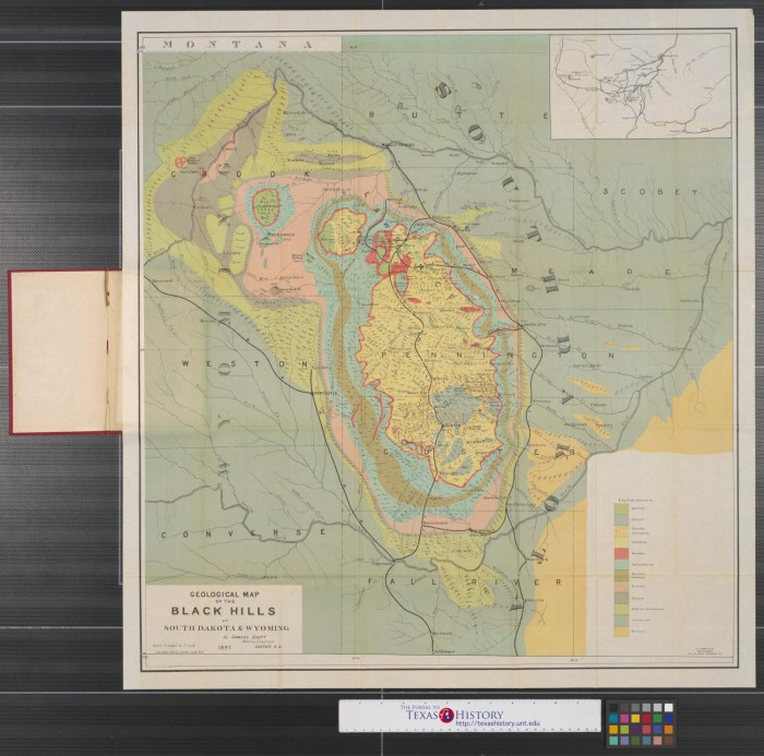 Geological map of the Black Hills of South Dakota & Wyoming.   The