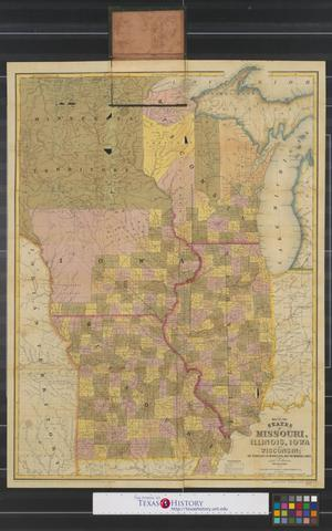 Primary view of object titled 'Map of the states of Missouri, Illinois, Iowa and Wisconsin, the territory of Minnesota, and the mineral lands of Lake Superior.'.