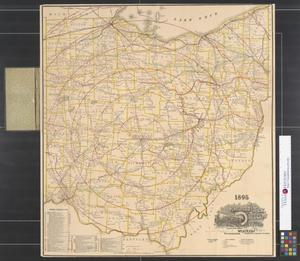 Primary view of object titled '1895 railroad map of Ohio.'.