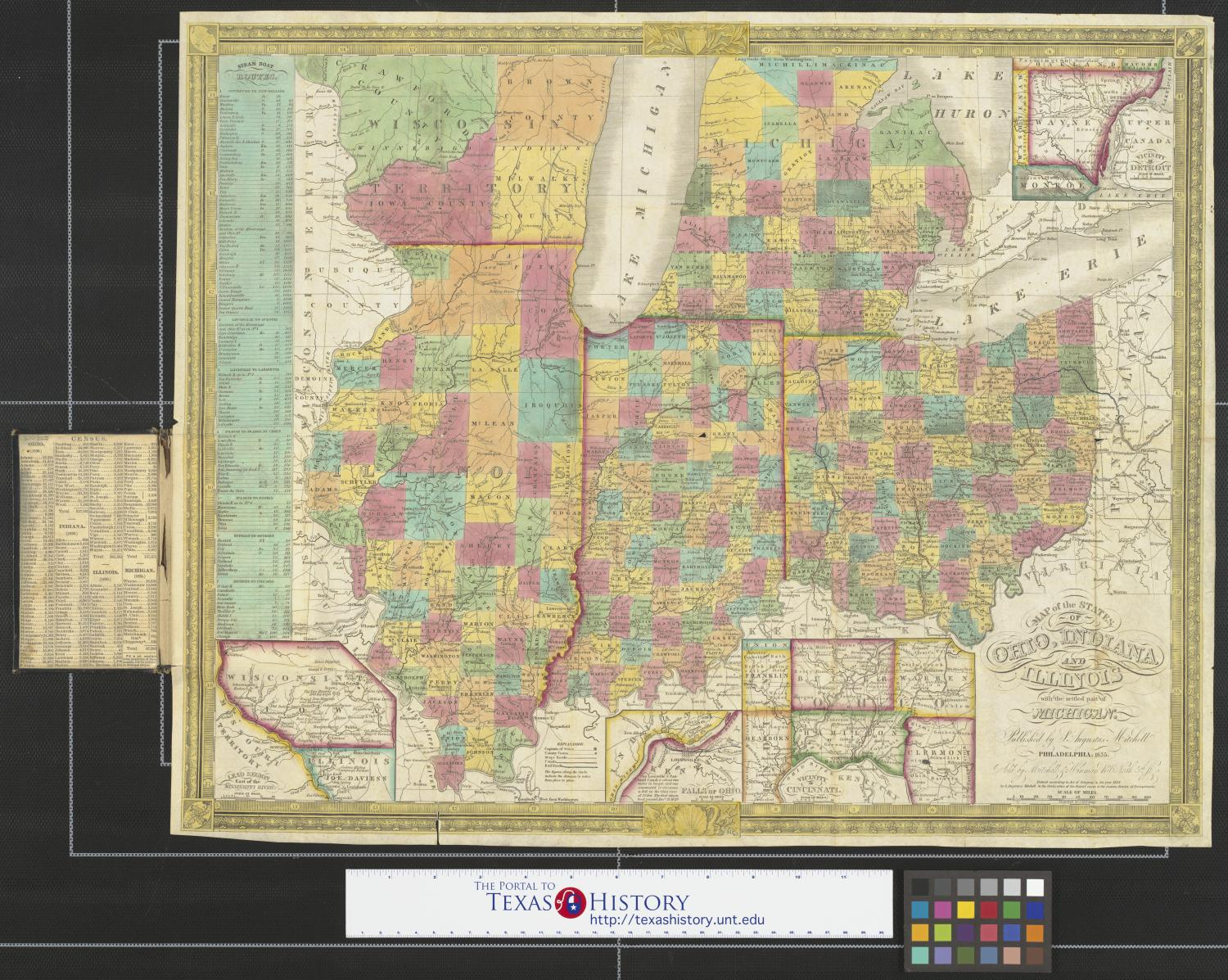 Map of the states of Ohio, Indiana and Illinois with the ... Illinois State Map To Phili on