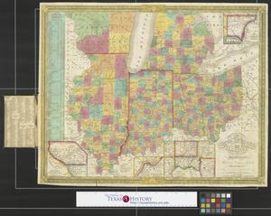 Primary view of object titled 'Map of the states of Ohio, Indiana and Illinois with the settled part of Michigan.'.