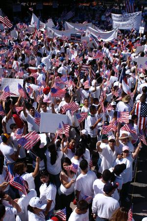 Primary view of object titled '[Crowd of immigration protesters wave signs and American flags]'.