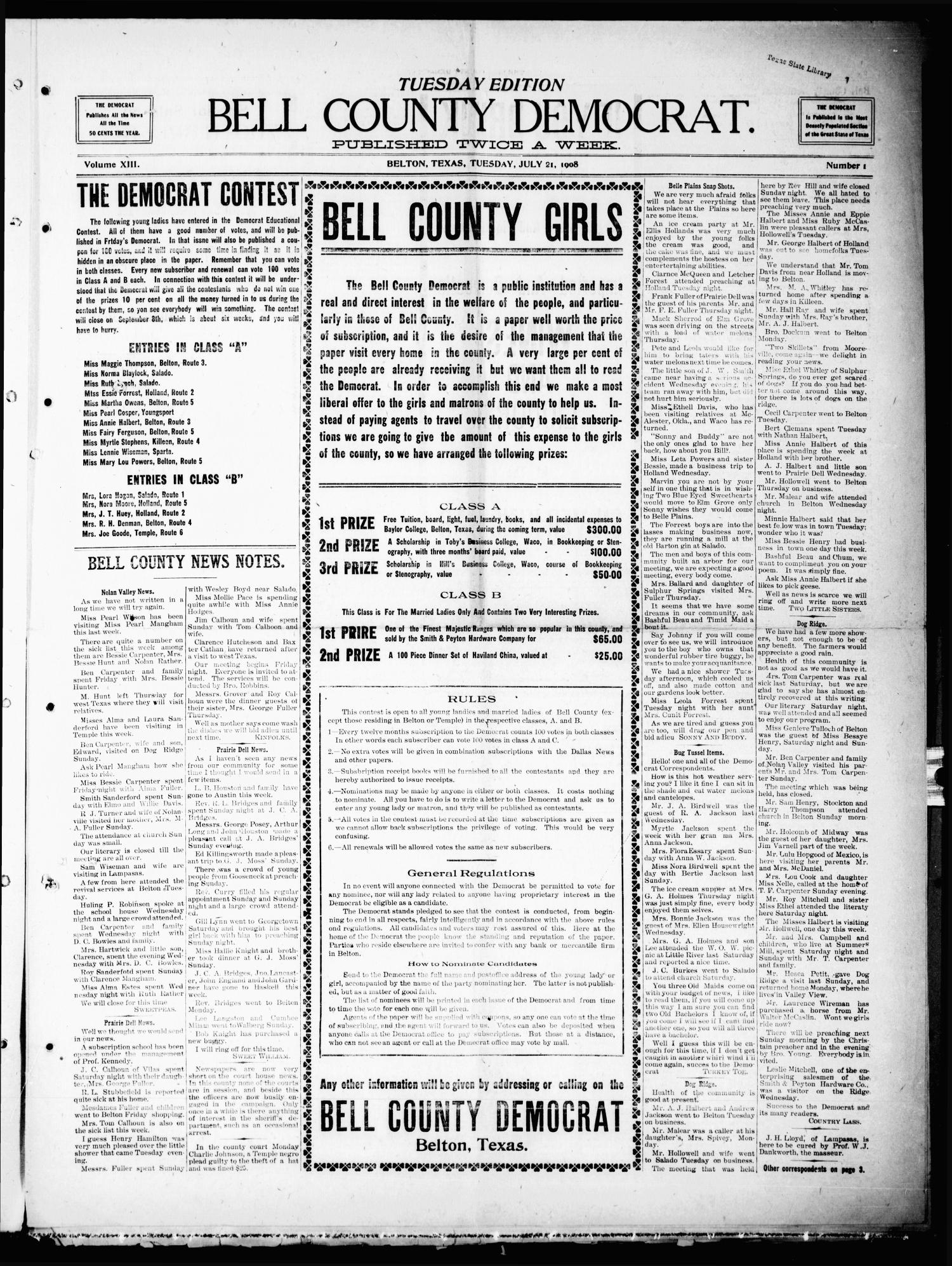 Bell County Democrat (Belton, Tex.), Vol. 13, No. 1, Ed. 1 Tuesday, July 21, 1908                                                                                                      [Sequence #]: 1 of 4