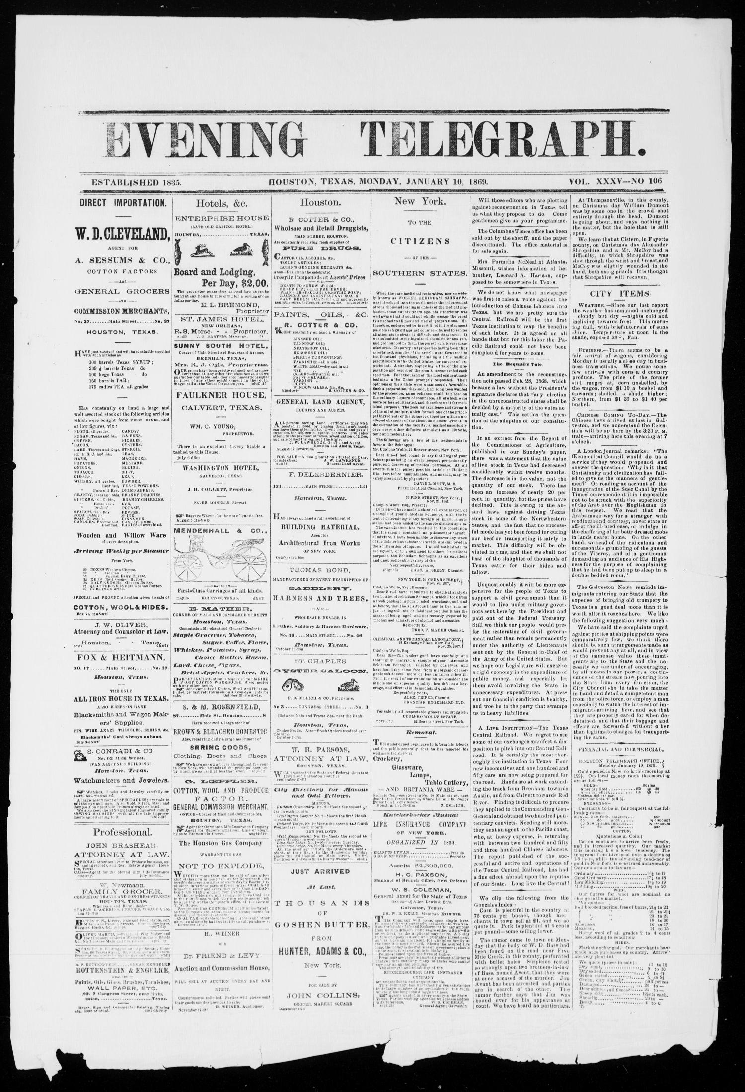 Evening Telegraph (Houston, Tex.), Vol. 35, No. 106, Ed. 1 Sunday, January 10, 1869                                                                                                      [Sequence #]: 1 of 2