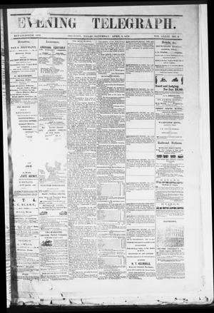 Primary view of object titled 'Evening Telegraph (Houston, Tex.), Vol. 36, No. 9, Ed. 1 Saturday, April 9, 1870'.