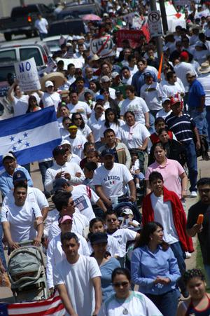 Primary view of object titled '[The flag of Honduras is carried during the march]'.