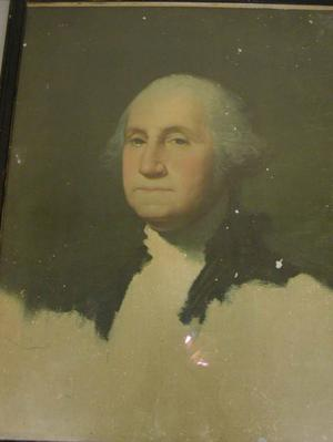 Primary view of object titled '[Portrait of George Washington that hung in the Guy Lodge Hall]'.